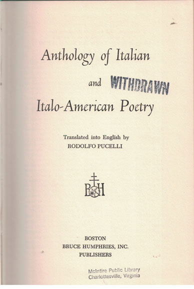 Copertina di Anthology of Italian and Italo-American Poetry